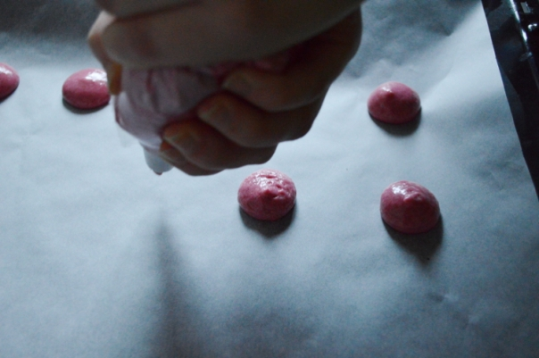 Piping the macarons