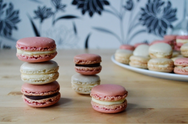 Macarons With Lavender Buttercream + Rose Chocolate Ganache